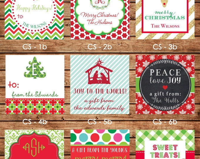 24 Printed Christmas Holiday Square Gift Tags Enclosure Cards Stickers - Can personalize - Choose ONE design