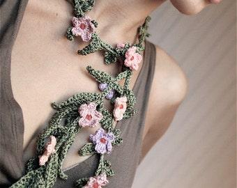 Crochet Lariat with Tiny Flowers - PDF PATTERN