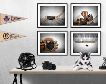 Set of Four Hockey Photo Prints, Vintage Hockey Nursery Decor, Hockey Wall art, Hockey prints