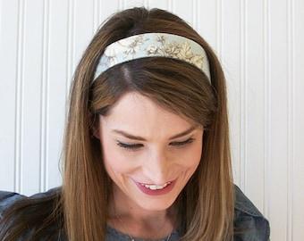 Blue and White Linen Headband, Womens Headband, Fabric Headband, Adult Headband, Womens Hair Accessories