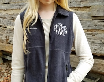 Monogrammed Columbia Vest,  Monogram Womens Fleece Vest