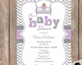 Purple and Gray baby shower invitation, purple and grey teddy bear baby shower invitation, chevron, baby girl invitation, teddy bear invite