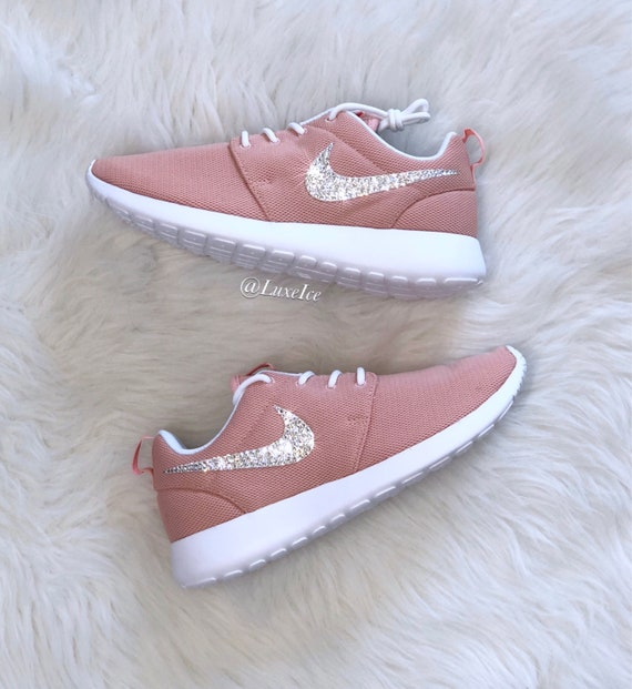Nike Roshe One - Coral Stardust/White customized with SWAROVSKI® Xirius Rose-Cut  Crystals.