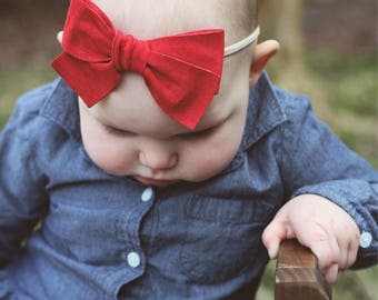 Genuine Suede Bow/Leather Bow Headband/Leather Bow/Baby Bows/Baby Headbands/Baby Girl/Baby Hair Clip