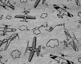 Jersey Airplanes on gray Cotton Jersey Knit Fabric flecked 0.54yd (0,5m) 003464