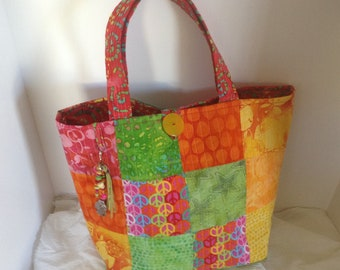 Quilted Gypsy BO Ho Colorful Tote Bag With Charm