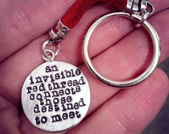 LIMITED TIME SALE An Invisible Red Thread...an Adoption Keychain - Solid Sterling Silver & Leather - Hand Stamped - Customizable - Add Name
