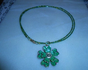 Green Beaded Necklace with Green and Gold Flower Pendant