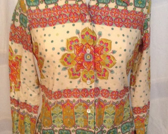 Lucky Brand Women's Medium Cotton Boho patterned Blouse Top Shirt Hip 60's Style Bohemian Zen Pink Green Mandala