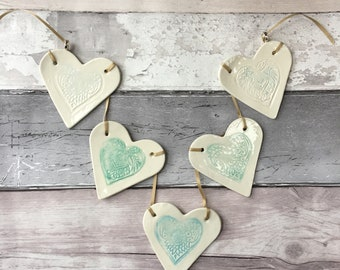 Pretty porcelain heart shaped bunting