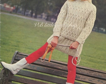 Girl's cabled jumper and skirt knitting pattern. Instant PDF download!