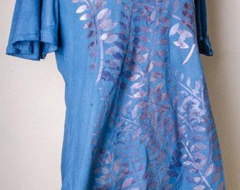 Handpainted dyed natural yoga XL 2x XXL extra large navy blue Cotton india indian dress tunic handmade hippie hippy boho plus size shirt