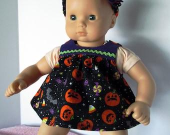 Baby Doll Dress, Purple & Orange Halloween Romper Dress, Doll Dress with Matching Headband, fits 15 Inch Dolls such as Bitty Baby