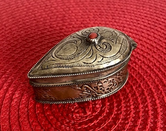 Antique Moroccan Jewelry Box Vintage Ornate Small Metal Box Teardrop shaped Box Red Stone Ring Box Trinket Box Boho Bohemian Decor Gypsy
