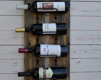 Reclaimed railway wood wine rack