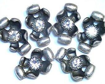 Six 2 Hole Slider Beads Dogwood Curled Petal Flowers With 6.5mm Clear Crystals Antiqued Silver Plated Garden Botanical Rhinestone Floral