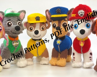 Paw Patrol crochet pattern (Chase, Zuma, Rocky, Rubble, Skye, Marshall, Tracker and Everest) (English), PDF format.