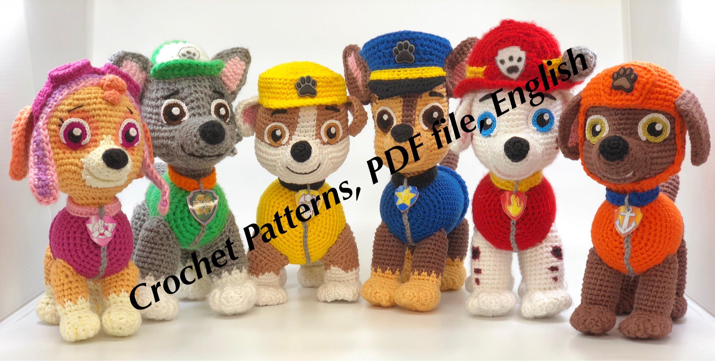 Paw Patrol Crochet Pattern Chase Zuma Rocky Rubble