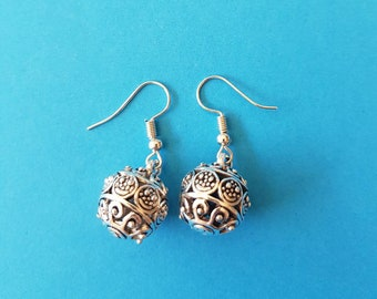 Antique Silver Ball Earrings
