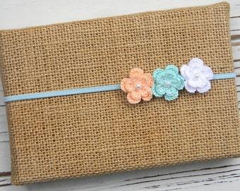 Crochet Flower Headband - Baby Headband - Baby Flower Headband - Newborn Flower Headband