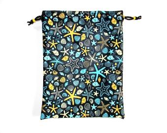 Swimsuit Wet Dry Bag Waterproof - Seashells and Starfish - Medium