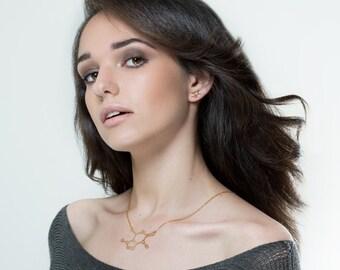 Caffeine molecule necklace Caffeine necklace science jewelry chemistry necklace -14k gold filled chocolate molecule sterling silver necklace