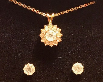 1980's Avon Necklace And Earrings Set
