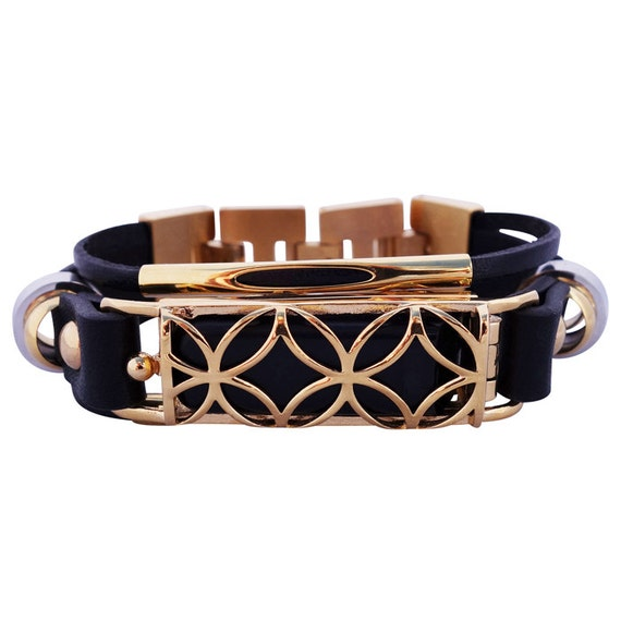 Bracelet Fusion - fitjewels - Flex Jewelry - Black/Gold made from stainless steel and leather