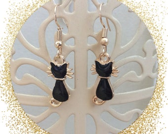 Elegant cat earrings, gold and black available