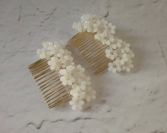Bridal hair combs, natured inspired wedding hair accessory, crystal beaded hair comb, gold bridal hairpiece, luxury floral wedding hair comb