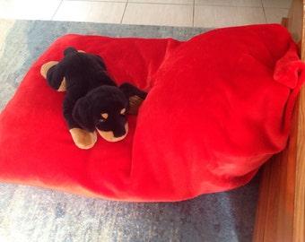 Fur beanbag/large Red triangle/ short pile fur bean bag cover/ chair lounge rumpus.