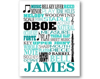 Oboe Typography Poster, Oboist Gift, Oboe Player Art, Oboe Gift, Oboe Player Gift, Band Gift, Band Art, Oboe Canvas, Personalized Oboe Art