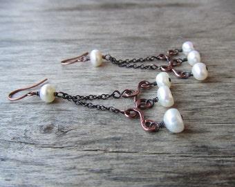 White pearl earrings Long chandelier earrings Long earrings Freshwater pearl jewelry Copper and pearls Copper jewelry Gift for woman