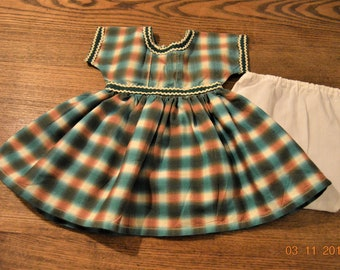 "50's Vintage Doll Dress,Panties,14 - 18 inch doll,Waist 10 1/2"",Total 11"" Handmade Charming Check Green Brown Plaid Cotton,Rick Rick Trimmed"