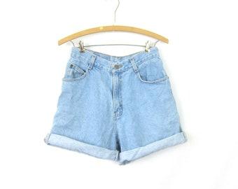 80s Faded Blue Jean Shorts High Waist Gitano Denim Vintage MOM Shorts Lightwash Roll Up Summer Shorts Womens Size 8 28 inch waist Small