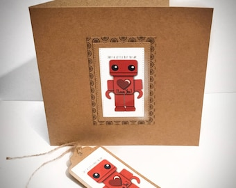 Handmade LoveBot Card and Matching Gift Tag