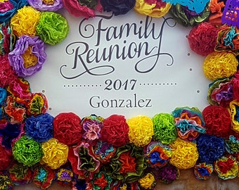 Mexican Paper Flowers Photo Wall Tissue Pom Poms Multicolor - Set of 20 - Multicolor Wedding Flowers