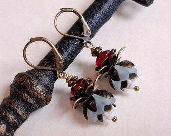 Powder blue lucite flower earrings Czech glass cottage chic earrings