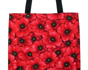 Red Poppy Flowers Carryall Tote Bag - Choose Size