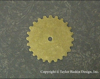 Steampunk Gears, Watch and Clock Pieces in Antiqued Polished Brass (item 3000-large AG) - 6 Pieces