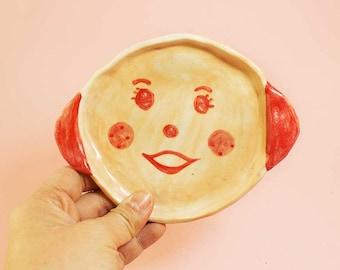 Pink Smiley Girl Round Ceramic Plate, Pink Girl Round Hand-Built Pottery Plate, Pink Girl Round Trinket Dish
