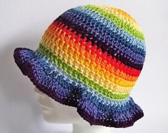 Summer hat woman, rainbow hat, rainbow beanie, rainbow bonnet, rainbow colors, rainbow summer, hipster beanie, rainbow items, mommy and me