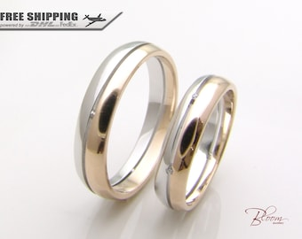 Unique Wedding Rings 14K Gold Couples Ring Set Two Tone Couple Rings Set  Rose Gold Wedding