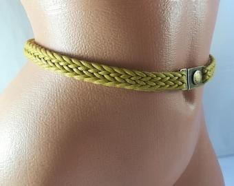 Faux leather belt Mustard yellow belt Brass belt buckle Waist belt Braid belt Leather imitation Braided belt Yellow belt Vintage belt
