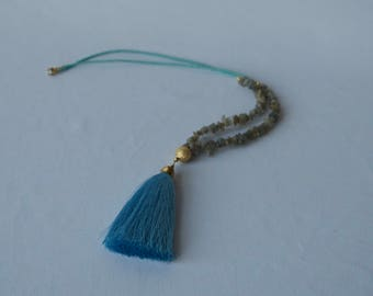 Pebble Beaded Necklace with Tassel