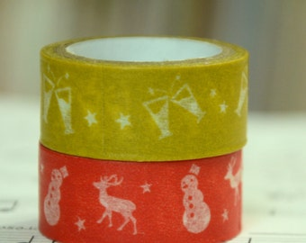 2 Rolls of Japanese Washi Tape Roll-Deer, Snowman  , and party