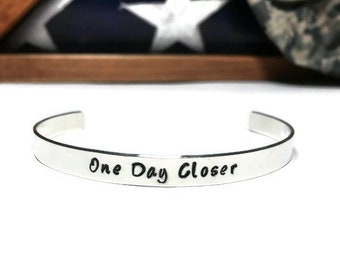 Sterling Silver One Day Closer, Deployment Bracelet, Army Wife, Military Wife, Military Girlfriend, Deployment Gift, Military Bracelet