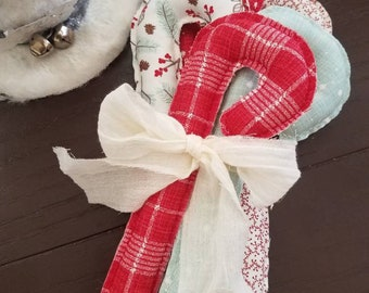 Farmhouse Candy Canes, Country Candy Canes, Christmas Candy Canes, Fabric Stuffed Candy Canes