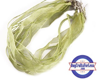 Ribbon CORD necklace, OLIVE +FREE SHiPPiNG & Discounts*