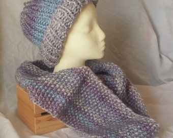 Purple Blue Soft Hat and Cowl Scarf Set